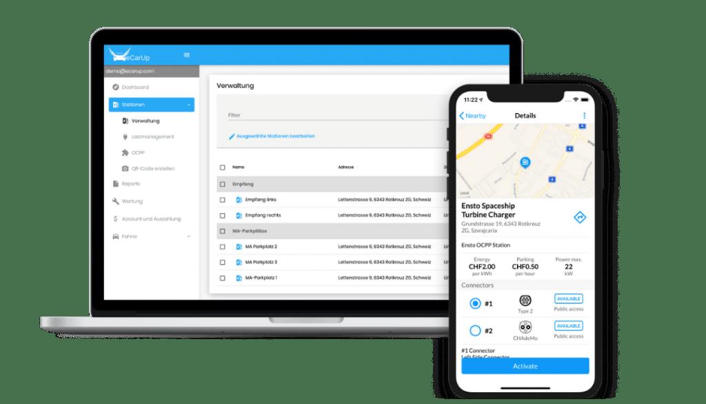 Ladestationen Backend mit Lade App und Webportal.